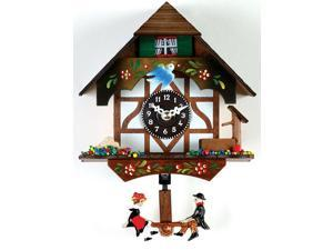 German Chalet Cuckoo Clock with Bird, Well and Pendulum