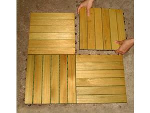 Plantation Teak Acacia Hardwood Tiles - Pack of 10 Tiles