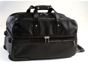 Trolley/Rolling Leather Duffel Bag w Zippered Top/Bottom Access (Black)