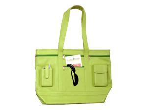 Contemporary Leather Business Tote Bag w Accessory Pockets