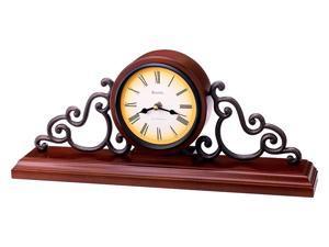 Strathburn Mantel Clock in Walnut Finish Wood Case w Metal Scroll Accents - Bulova