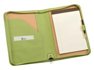 Zip Around Padfolio Organizer in Key Lime Green Nappa Leather