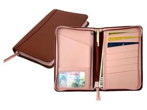 Leather Passport Wallet w Zipper Closure & ID Window (Tan/Carnation Pink)