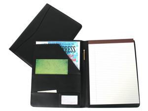 Black Leather Padfolio with ID Window (Green)