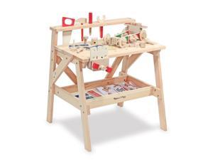 Children's Wooden Workbench with Tools and Storage Rack