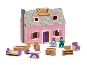 Fold & Go Miniature Dollhouse with Wooden Furniture and Dolls