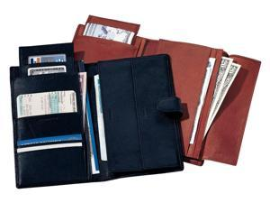 Deluxe Leather Travel Wallet w Passport Pocket & Currency Slots (Burgundy)