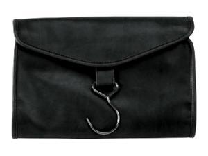 Faux Leather Hanging Toiletry Bag w Waterproof Zipper Compartments