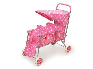 Badger Basket Triple Doll Stroller w White Polka Dots in Pink