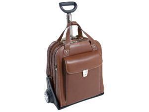 Vertical Detachable-Wheeled Padded Laptop Case - Pastenello (Cognac)