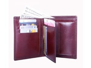 Double Fold Leather Wallet in English Brown
