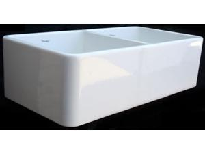 37 in. Duet Double Bowl Fireclay Farmhouse Kitchen Sink (Biscuit)
