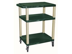 Tuffy 24 in. Cart w 3 Shelves in Hunter Green