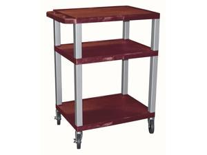 Tuffy AV Cart w Nickel Legs w Burgundy Shelves