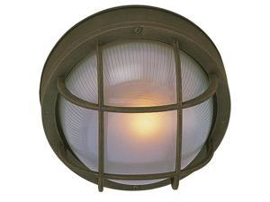 Energy Star Large Round Cast Ceiling Mount Outdoor Light in Rust