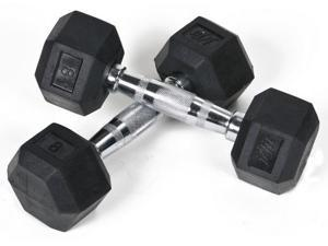 8 lbs. Rubber Coated Hex Dumbbell - Set of 2