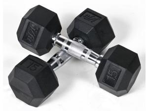 15 lbs. Rubber Coated Hex Dumbbell - Set of 2