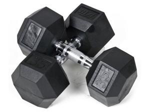 35 lbs. Rubber Coated Hex Dumbbell - Set of 2