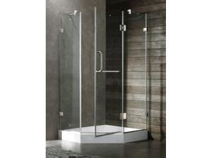 40 in. Frameless Neo-Angle Nickel Shower Enclosure w White Base