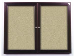 2 Door Enclosed Vinyl Bulletin Board in Bronze Finish