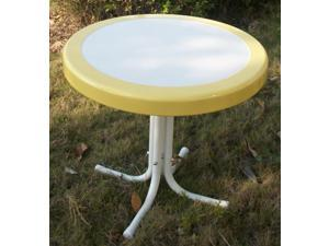 Metal Retro Round Table in Yellow and White