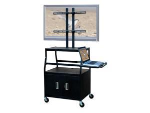 Adjustable Flat Panel Cart w 2 Door Cabinet