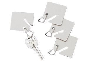 15 White Fiber Key Tags