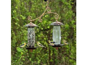Garden Sip & Seed Bird Feeder w Double Silo in Copper Finish