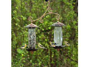 Garden Sip & Seed Bird Feeder w Double Silo in Copper Finish