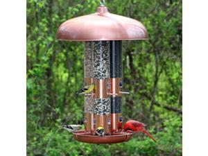 Copper Triple Tube Bird Feeder w 12 Flip Ports & 3 Seed Tubes