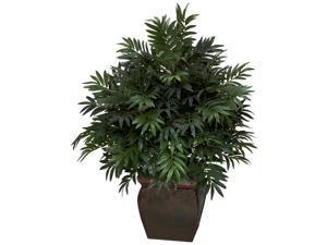 Triple Bamboo Palm w Decorative Planter Silk Plant