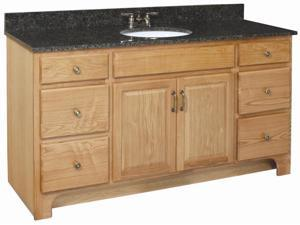 Design House 530436 Richland Nutmeg Oak Vanity Cabinet with 2-Doors and 4-Drawers, 60-Inches by 33.5-Inches - 530436