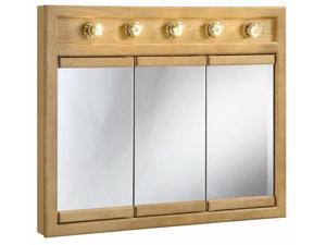 Design House 530618 Richland Nutmeg Oak Lighted Tri-View Wall Cabinet Mirror with 3-Doors, 36-Inches by 30-Inches - 530618