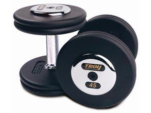 Fixed Pro-Style Dumbbells with Straight Handle, Black Plate and Chrome End Cap - Set of 2 (52.5 lbs.)