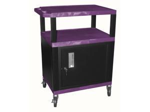 Tuffy 34 in. AV Cart w Cabinet in Purple & Black