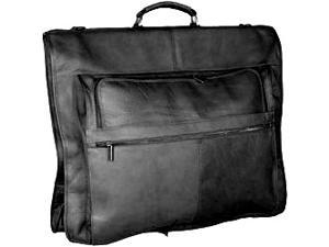 Leather Garment Bag w 4 Exterior Pockets w Elastic Strap (Black)
