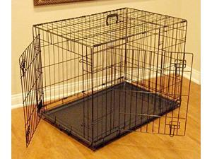 Folding Double Door Dog Crate Cage (42 in. L x 31 in. W x 28 in. H (35 lbs.))