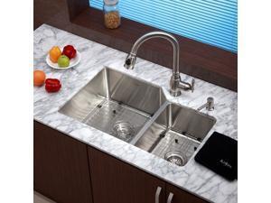 32 in. Undermount 60/40 Double Bowl Stainless Steel Kitchen Sink