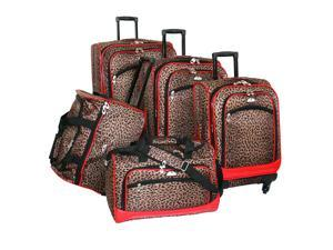 Animal Print 5 Pc Spinner Luggage Set in Leopard Red