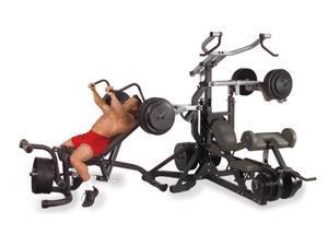Free-Weight Leverage Gym w Adjustable Bench