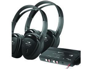 2 Swivel Ear Pad, 2-Channel RF 900 MHz Wireless Headphones w Transmitter