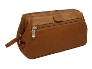 Leather Traveling Kit w Side Handle in Saddle