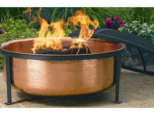 Hand Hammered Unfinished Copper Fire Pit Tub w Screen