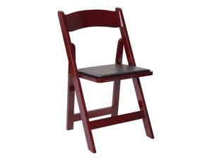 Wooden Folding Chair with Vinyl Cushions - Set of 4