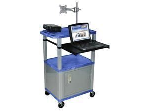 Tuffy Front Shelf Presentation Cart w Nickel Legs in Blue