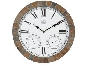 Round Ceramic Tile Frame Wall Clock w Weather Dials