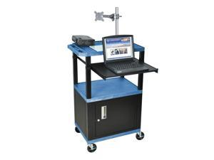 Tuffy Front Pullout Shelf Presentation Cart w Black Legs in Blue