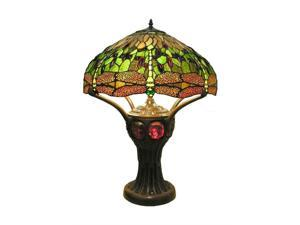Dragonfly Table Lamp with Turtleback Lighted Base in Green