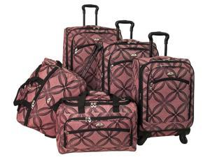 5 Pc Silver Clover Spinner Luggage Set in Pink