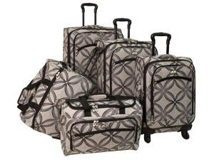 5 Pc Silver Clover Spinner Luggage Set in Black Grey